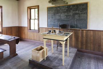 Interior of a one room Mennonite schoolhouse, Mennonite Heritage Village, Steinbach, Manitoba, Canada