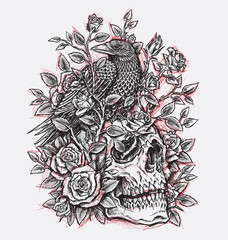 Sketchy Crow, Roses and Skull Tattoo Design Linework