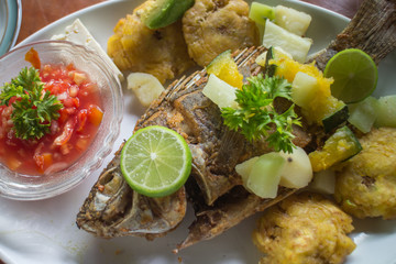 Fried fish with tostones, Nicaragua food. General travel imagery