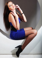 beautiful woman posing in circle