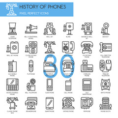 History of Phones , Thin Line and Pixel Perfect Icons