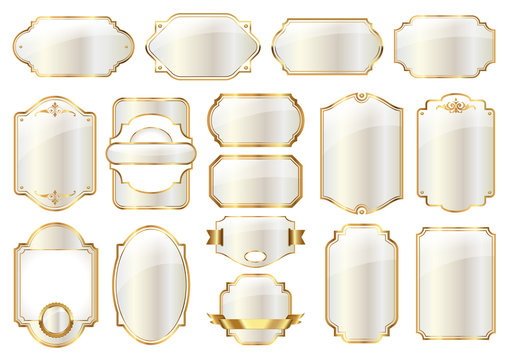 collection of blank white labels with golden frames, vintage vector design elements