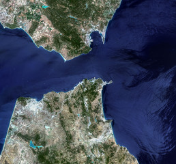 The Strait of Gibraltar from Landsat satellite. Elements of this
