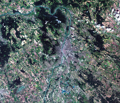 The Danube from Landsat satellite. Elements of this image furnis