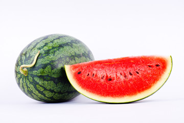 Red Watermelon is a healthy sweet fruit on white background isolated.