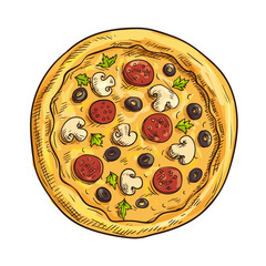Italian pizza sketch for pizzeria and cafe design