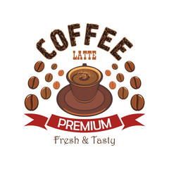 Premium coffee badge with cup of latte