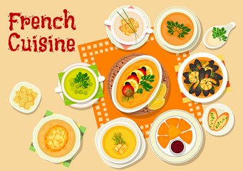 French cuisine soups and snack dishes icon