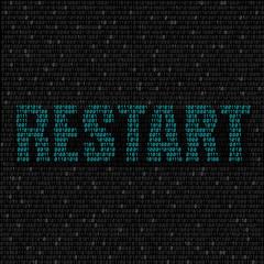 blue restart code background
