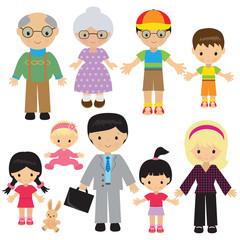 Family vector cartoon illustration