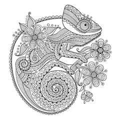 Black and white vector illustration with a chameleon in ethnic patterns. It can be used as a coloring antistress for adults and children