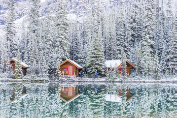 Fresh snow on cabins, Lake O'Hara, Yoho National Park, British Columbia, Canada