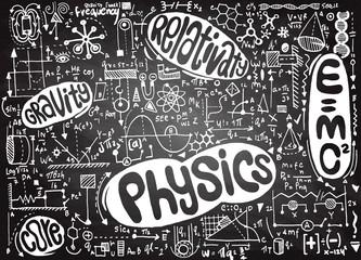 Physical formulas and phenomenon. hand-drawn illustration. scien