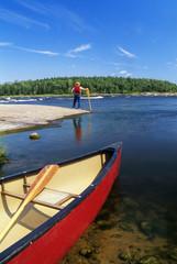 Canoeing, Nutimik Lake, Whiteshell Provincial Park, Manitoba, Canada.