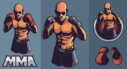 MMA fighter club design elements for logo with optional boxing gloves and framing