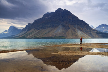 Crowfoot Mountain and Bow Lake, Banff National Park, Alberta
