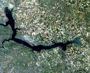 Lake Sakakawea from Landsat satellite. Elements of this image furnished by NASA