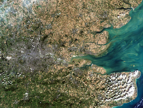 London from Landsat satellite. Elements of this image furnished by NASA