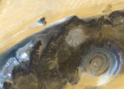 The Richat Structure from Landsat satellite. Elements of this image furnished by NASA