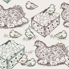 Hen with chicks seamless pattern