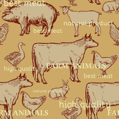 Farm animals seamless pattern cow, goose, chicken, pig