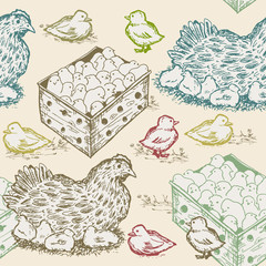 Hen with chicks seamless pattern farm fresh eggs