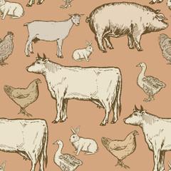 Farm animals seamless pattern
