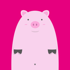 cute fat pink pig on red background