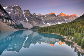 Sunrise at Moraine Lake in the Valley of the Ten Peaks.  Banff National Park, Alberta, Canada.