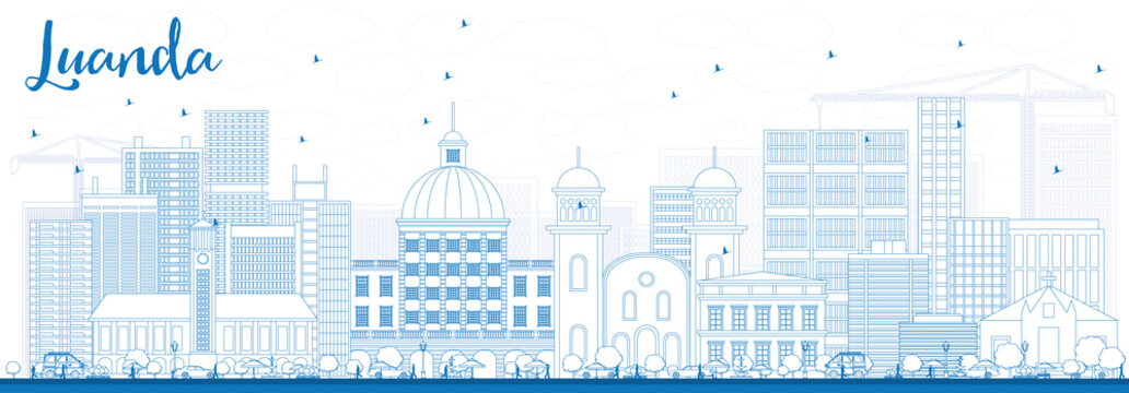 Outline Luanda Skyline with Blue Buildings.