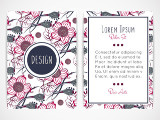 Cover design with floral pattern. Hand drawn flowers. Flowering plants. Bloom. Brochure, invitation, flyer, card or book cover. Size a4. Vector illustration, eps10.