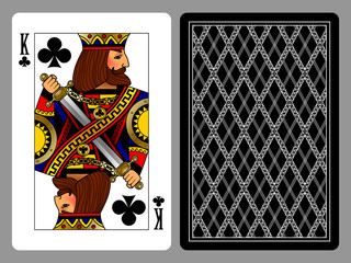 King of Clubs playing card and the backside background