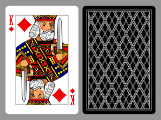 King of Diamonds playing card and the backside background