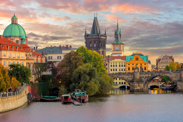 Wall Murals Prague Famous Prague Landmarks - towers and bridge at sundown
