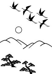 山 松林 鶴 日の出 満月 線画