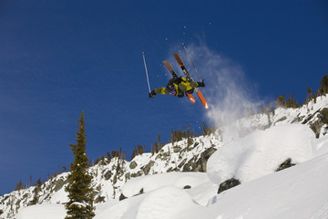 A skier catching air at Rogers Pass, Glacier National Park, British Columbia, Canada
