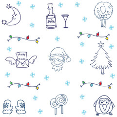 Christmas ornament set in doodle