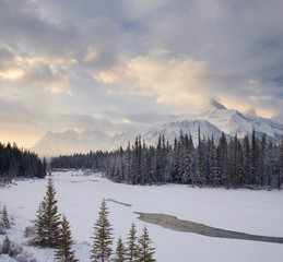 Mount Fryatt and the Athabasca River - Jasper National Park - Alberta, Canada.