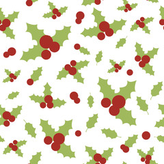 Seamless pattern with holly berries and leaves