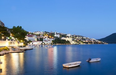 Neum city in the evening, tourist resort in Bosnia and Herzegovina