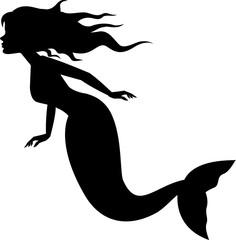 Mermaid silhouette swimming