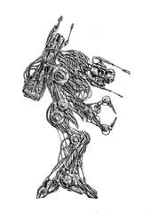 Art style cyborg drawing illustration