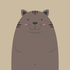cute big fat cat on light brown background