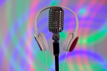 Music microphone for singing on a colored background