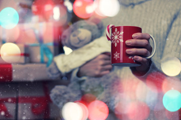 cup hand teddy bear gift