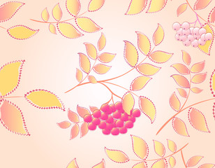 Seamless autumn background with leaves and rowan. EPS10 vector illustration