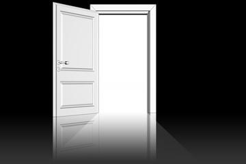 Da porta aperta entra la luce su sfondo nero.