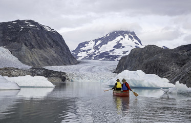 Canoeing, Jacobson glacier, Coast Mountains, British Columbia, Canada