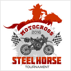 Motocross Tournament emblem - moto and horse for t-shirts on white background