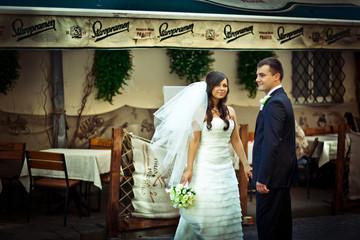 Wind blows bride's veil